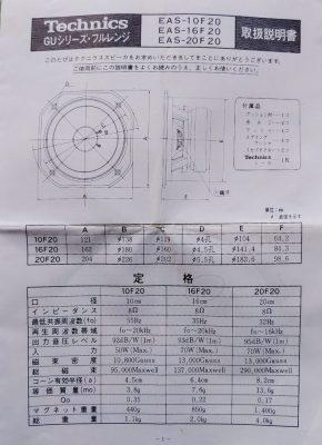 mockupテクニクス16F20フルレンジユニット